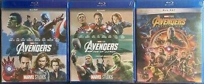 The Avengers 1 2 3 Trilogy BLU-RAY Set. Avengers, Age of Ultron, Infinity War.