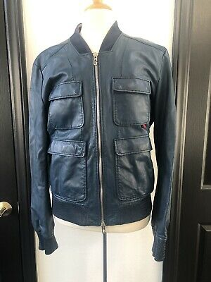 8171af34a GUCCI Mens EU 56/46 Leather Blue Bomber motorcycle Jacket 100% Authentic  ITALY