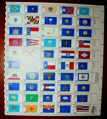 1976 13c State Flags Full Sheet of 50 Stamps Scott #1633-82