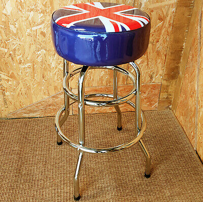 Uk Flag Padded Seat American Diner Bar Stool Chrome Metal Retro Cafe Union Jack