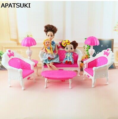 1/6 Dollhouse Sofa Couch Desk Lamp 6 Items/Set Accessories For Monster High Doll