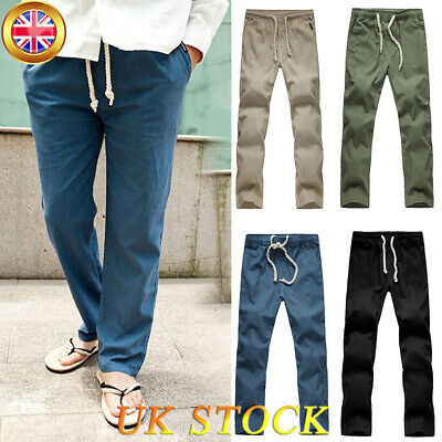 Mens Causal Cotton Linen Loose Pants Summer Drawstring Elastic Straight Trousers