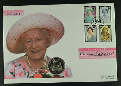 Isle of Man 2000 1 Crown Life and Times of The Queen Mother Coin Cover FDC
