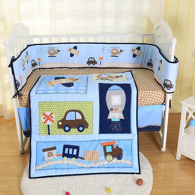 New 7 Pcs Baby Bedding Set Crib Bed Set Cartoon Little Dog Baby Crib Set Quilt Bumper Sheet Skirt Mother & Kids Bedding Sets