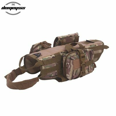 Tactical Military Molle Dog Harness Pet Training Vest with Pouches Bags S M L XL