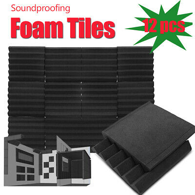 96Pcs Acoustic Sound Proofing Foam Thick Pads Wall Panels Studio Treatments Tool
