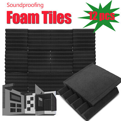 96Pcs Sound Proofing Foam Thick Pads Acoustic Wall Panels Studio Treatments Tool