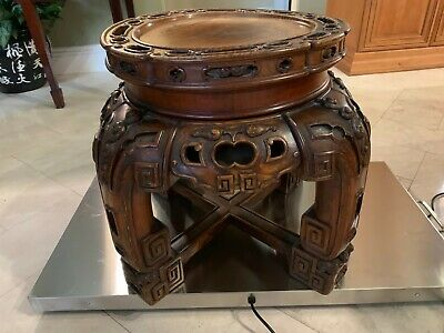 """Antique Chinese Furniture /Table /Pedestal 19""""h 22""""dia Intricate carving 44 lbs"""