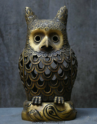 """16"""" Chinese Qian Long Dynasty Old Copper Hollow Owl Statue Incense Burner Censer"""