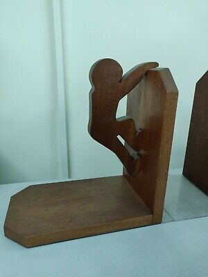 Vintage Pair of  1930s novelty wooden bookends in dark oak solid wood