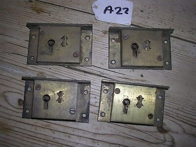 Set Of 4 Antique Brass Drawer Locks From The Same Chest (A22)