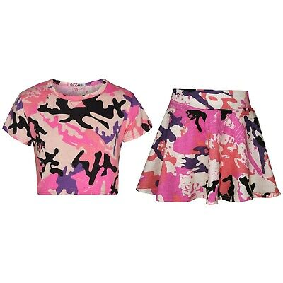 Kids Girls Tops & Skater Skirts Camouflage Baby Pink Fashion Summer Outfit Sets