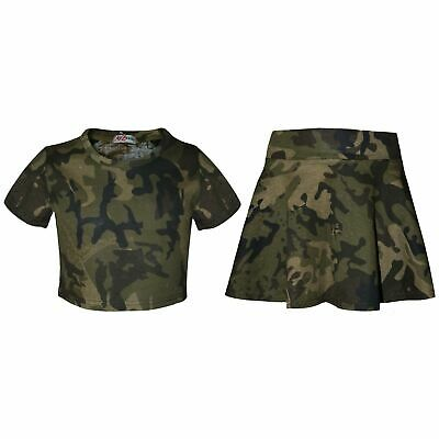 Kids Girls Top & Skater Skirt Camouflage Green Fashion Summer Outfit Sets 5-13 Y