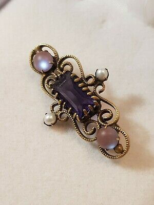 Victorian edwardian Saphiret filagree gilted brooch with other gems