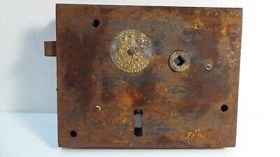 ANTIQUE VICTORIAN CAST IRON & BRASS CARPENTER PATENTEE NO.60 1800s DOOR RIM LOCK
