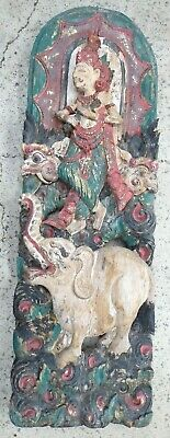 Antique Asian Thailand Carved Wooden Temple Panel Elephant Statue Painted Gilt