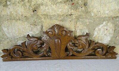 "26"" Antique French Hand Carved Wood Oak - Dragon"