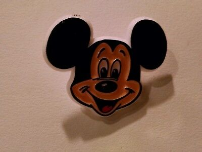 Vintage Mickey Mouse Club Pin Hard Plastic Raised Ears Logo Pin-back Button