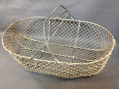 Antique Large Basket to Coconut in Metal Dump Bin Wire Vintage Deco Country