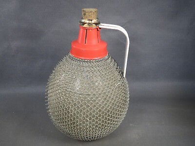 Antique Large Canister Lady Jeanne 5L in glass Dump Bin Wire Bistrot Vintage
