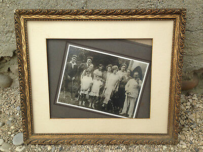 Antique Wooden Frame and Plaster Vintage with Photo Early 20th Old French Frame
