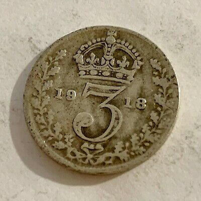 1918 - Silver Coin - Threepence - 3d  - Great Britain - 3p three pence