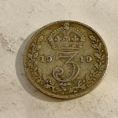 1919 - Silver Coin - Threepence - 3d  - Great Britain - 3p three pence