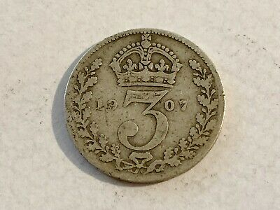 1907 - Silver Coin - Threepence - 3d  - Great Britain - 3p three pence
