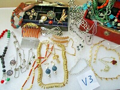 Job Lot Costume Jewellery In Box Mixed Lots