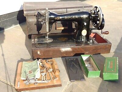 Antique 1941 Singer Sewing Machine 15K80 Case Instruction Manual and Some Parts
