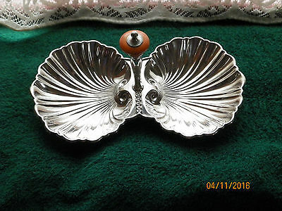 Vintage , Art Deco, Dlb. Scalloped Shell, Silver Plate , Handled Candy Dish