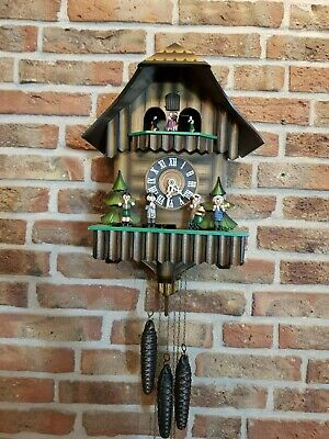 Vintage Black Forest Chalet Cuckoo Clock with Music and dancing musicians