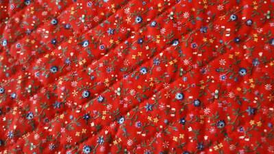 2 Yds Vintage Cranston Quilted Red Floral Calico Cotton Fabric, Blue Flowers, 44