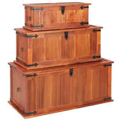 Set of 3 Wooden Treasure Storage Chests Box Trunk Coffee Side Table with Handles