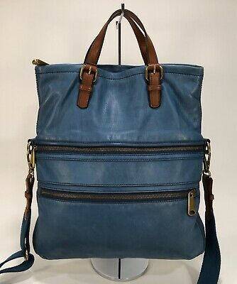 fc1b0137b FOSSIL EXPLORER Large Blue Leather with Brown Leather Trim Foldover  Messenger