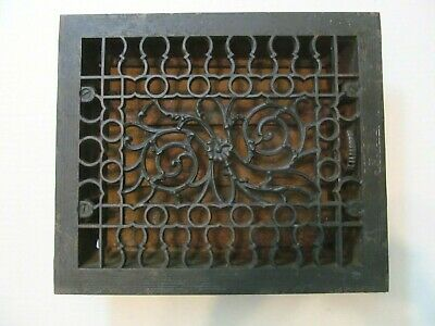 Vtg Antique Art Deco Ornate Cast Iron Grate Damper Louvered Cover  (Lot B)