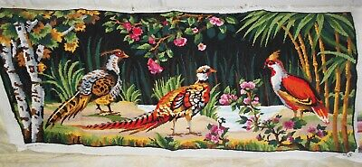 COLORFUL PHEASANTS FINISHED COMPLETED TAPESTRY NEEDLEPOINT CANVAS (108 x 48 cm)