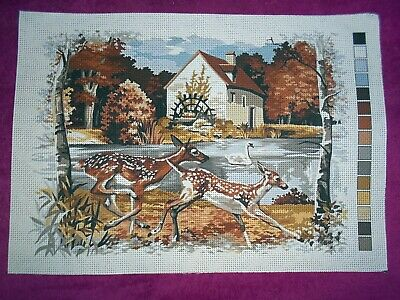 TWO DEERS BY THE WATERMILL PRINTED TAPESTRY NEEDLEPOINT AIDA CANVAS 36X26cm