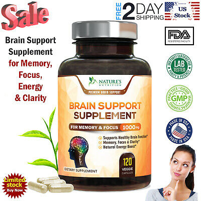 Brain Support Supplements for Focus Memory Brian Booster Pills 120 Capsules