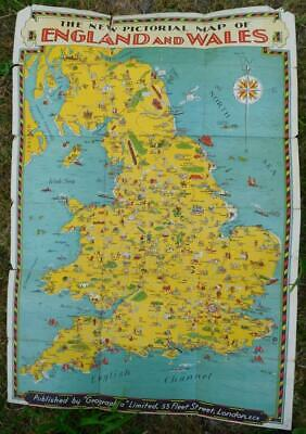 Vintage 1935 Geographia New Pictorial Map England & Wales rare poster