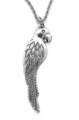 Silvery Parrot Pendant Necklace with Steel Rope Chain