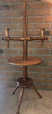 Pilgrim Century Styled Mid- Century Turned Screw-adjusting Two-light Candlestand