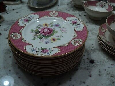 Myott  Son & Co Lt England China Staffordshire Rose Pink 10)Salad Plates