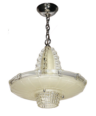 Vtg Antique Glass Chandelier Art Deco Lamp Light Fixture 3 Hole Bowl Shade