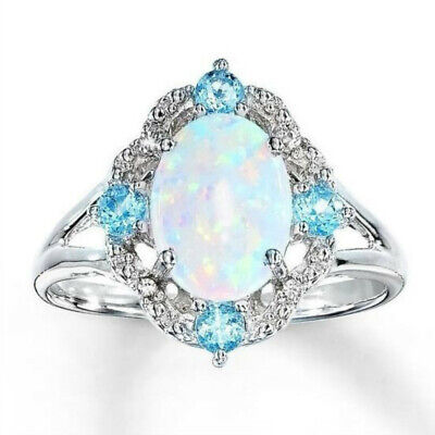 Women's Silver Plated Blue Crystal Opal Rings Wedding Rings Size 6-11 Jewelry