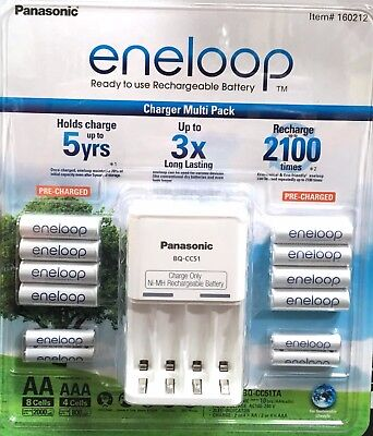 PANASONIC ENELOOP RECHARGE BATTERY CHARGER + 8 AA + 4 AAA BATTERIES Rechargeable