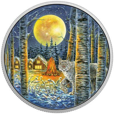 2017 $30 Fine Silver Coin Animals In The Moonlight: Lynx - Glow-In-The-Dark