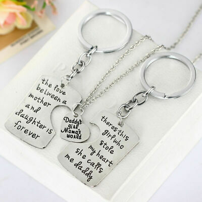 Family Gift Mother Daughter Father's Day Necklace Keychain Key Ring Jewelry