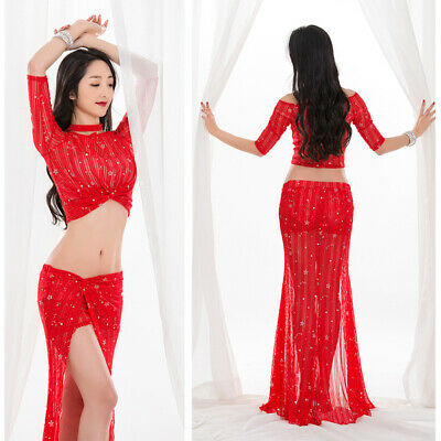 2432681b5a24 NEW WOMEN 2018 Belly Dance Costumes Practice Club Stage Long Dress ...