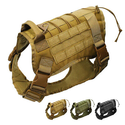 K9 Police Tactical Dog Harness Military Molle Pet Nylon Training Vest Adjustable